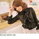 13604906 Черная весенняя блуза с длинным рукавом - Asia4Sale.ru...